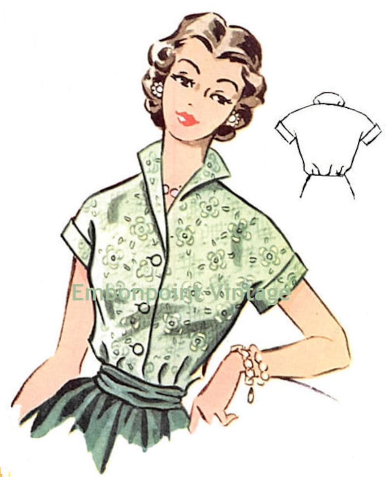 1950s Sewing Patterns | Dresses, Skirts, Tops, Mens  Vintage 1950s Blouse Pattern - PDF - Pattern No 99 Marcia Plus Size (or any size) $6.33 AT vintagedancer.com