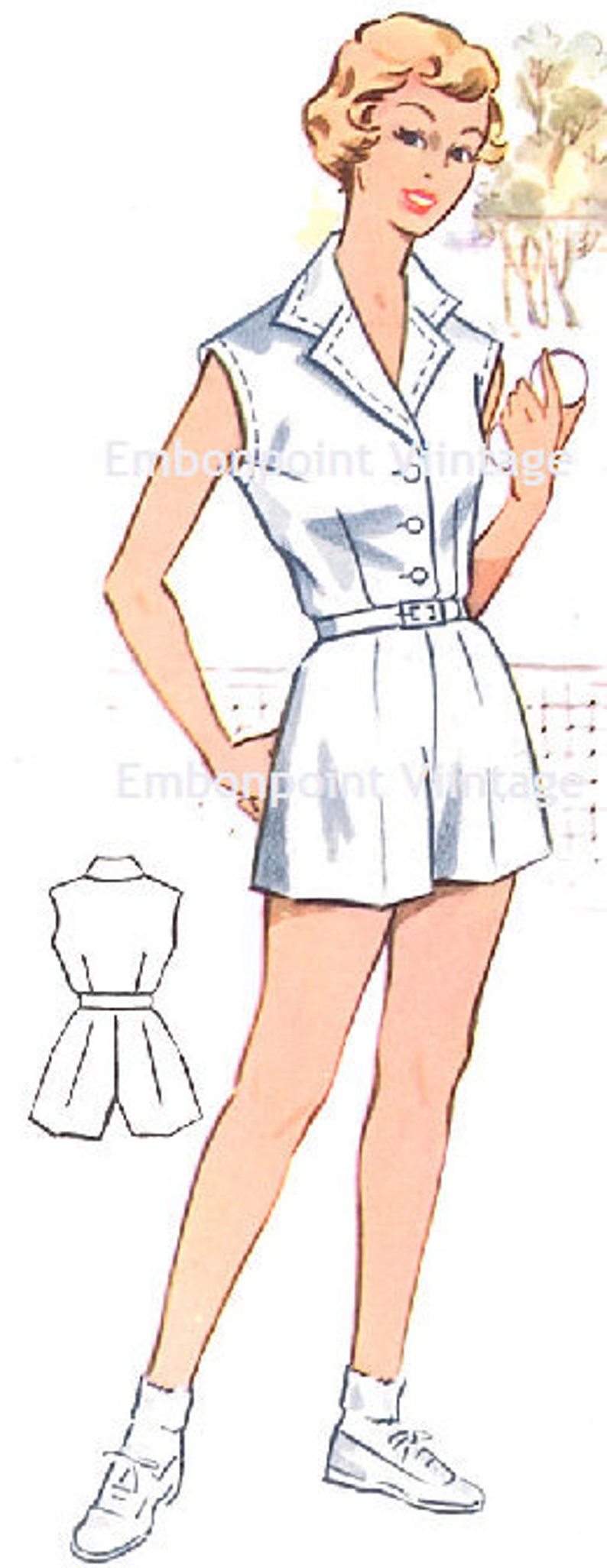 1950s Sewing Patterns | Dresses, Skirts, Tops, Mens Vintage 1950s Tennis Shorts Pattern - PDF - Pattern No 112b Dawn $5.35 AT vintagedancer.com