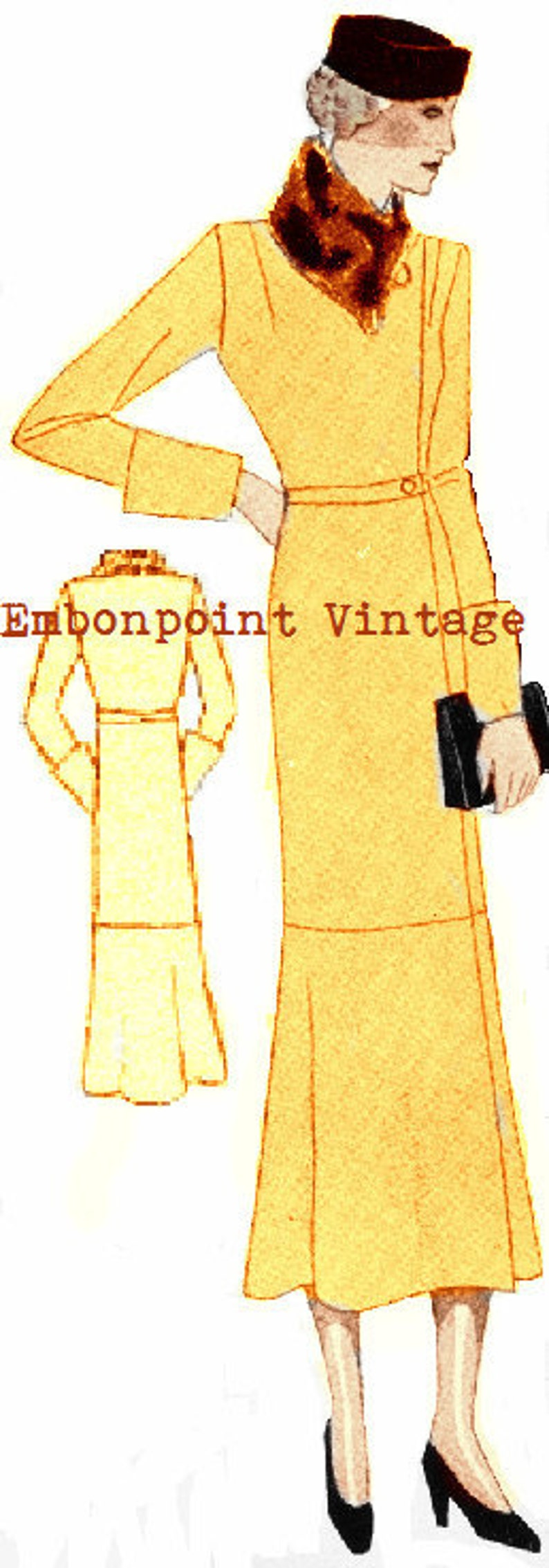 1930s Sewing Patterns- Dresses, Pants, Tops Plus Size (or any size) 1934 Vintage Coat Sewing Pattern - PDF - Pattern No 68 Earline 1930s 30s Instant Download $8.35 AT vintagedancer.com