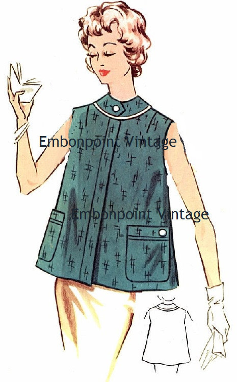 Vintage Maternity Clothes History 1950s Maternity Smock Pattern - PDF - Pattern No 122 Annette 50s Fashion Sewing Instant Download $8.27 AT vintagedancer.com
