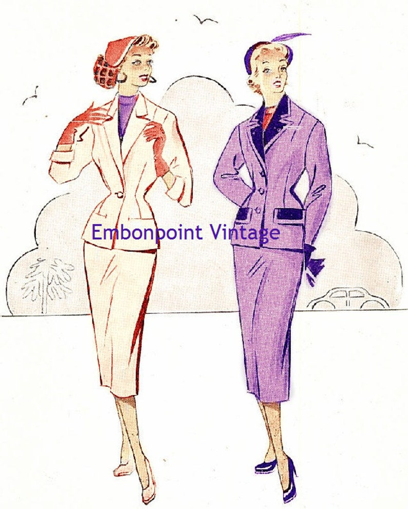 1950s Dresses, 50s Dresses | 1950s Style Dresses Plus Size (or any size) Vintage 1949 Skirt Suit Sewing Pattern - PDF - Pattern No 51 52 Della $12.28 AT vintagedancer.com