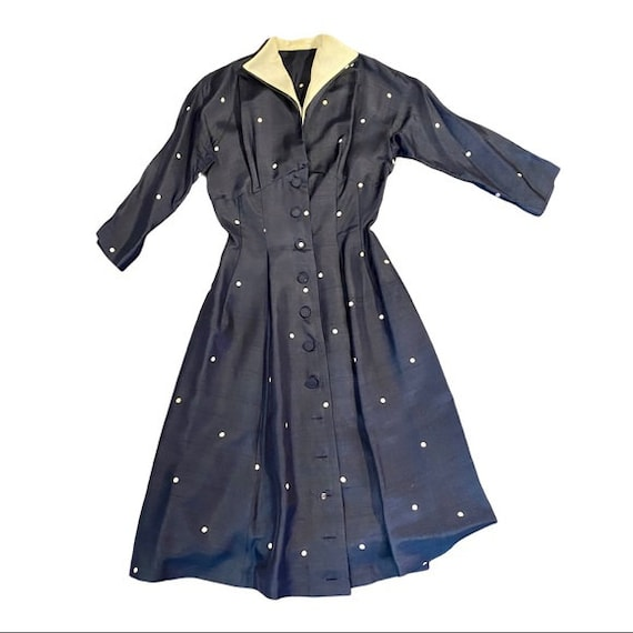 1940's 50's Blue Polka Dot Cocktail Dress