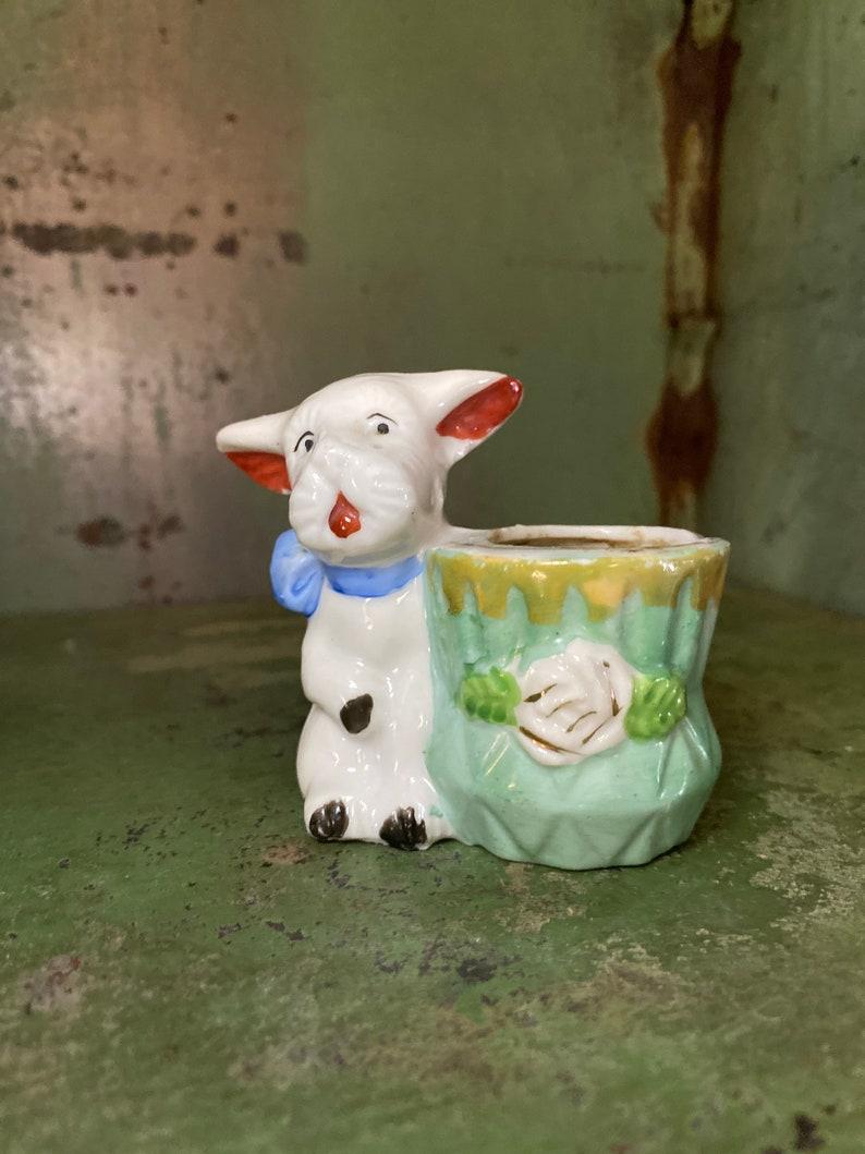 vintage Terrier Figurine vintage toothpick holder Porcelain Dog vase occupied Japan