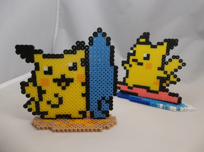Pokemon Yellow Surfing Pikachu perler bead art with stand - Two designs  available!