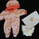 Layette with footie Pajamas blanket diaper binky pacifier for OOAK polymer clay baby art doll or silicone