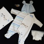 """puppy Footie Jammies Outfit Layette Clothes for Ooak Polymer Clay Baby Boy 7"""""""