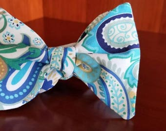 Turquoise and Brown Paisley Designer Freestyle BowTieByEDJ