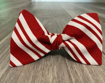 Red and White Stripe Designer Freestyle BowTieByEDJ