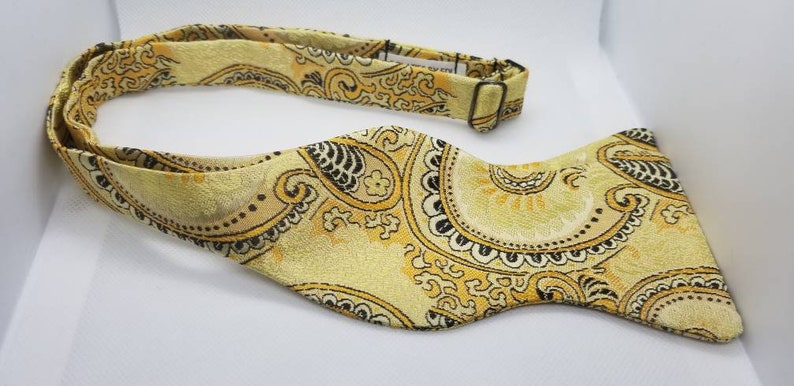 Black and Gold Paisley Designer Freestyle or Pre-tied image 0