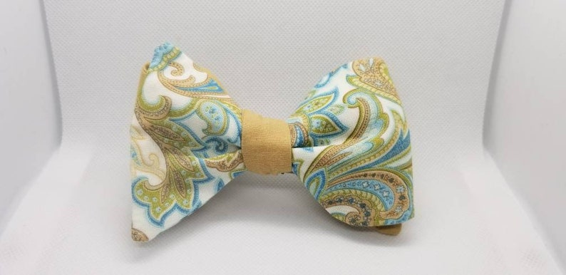Turquoise and Brown Paisley Designer Freestyle BowTieByEDJ image 0