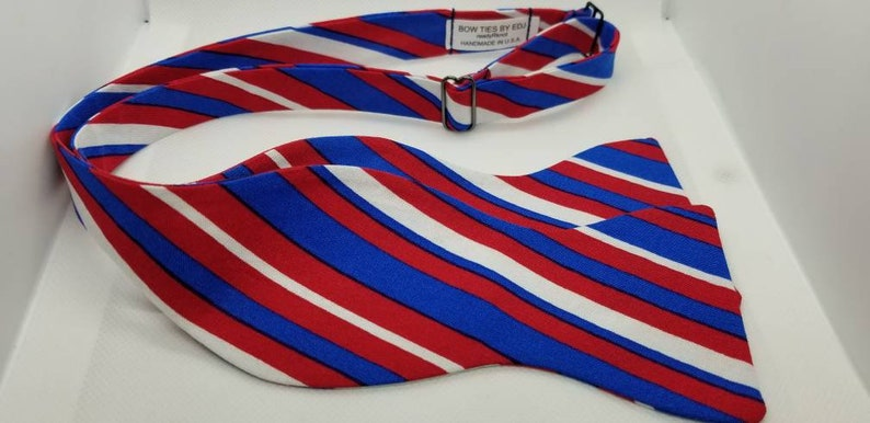Red White and Blue Stripe Designer Freestyle BowTieByEDJ image 0