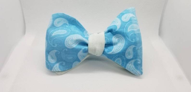 Turquoise Paisley Designer 2 in 1 Freestyle BowTieByEDJ image 0