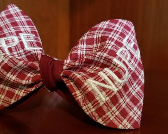"""Kappa Alpha Psi Fraternity, Inc. """"NUPE"""" Freestyle or Pre-tied BowTieByEDJ - Crimson and Cream Plaid"""