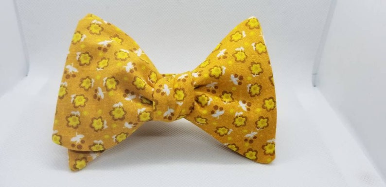 Yellow Floral Freestyle BowTieByEDJ image 0