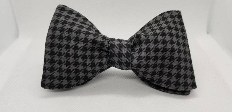 Black and Gray Designer Houndstooth Freestyle BowTieByEDJ image 0