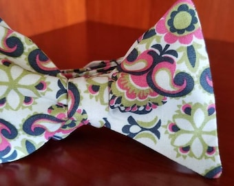 Green, Pink and Blue Paisley Designer Freestyle BowTieByEDJ