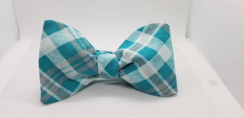 Turquoise  and Gray Designer Plaid Freestyle BowTieByEDJ image 0