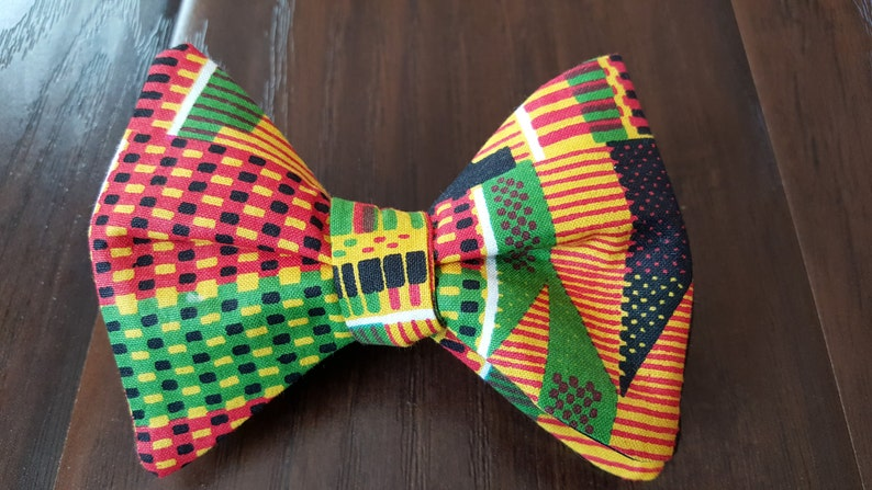 African Kente Cloth Freestyle BowTieByEDJ image 0