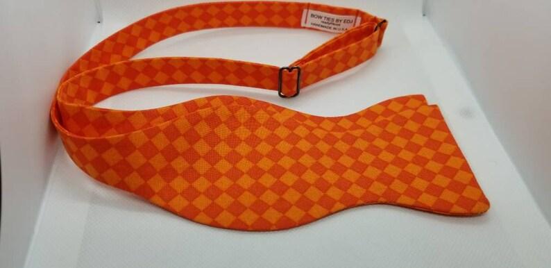 Orange Designer Plaid Freestyle BowTieByEDJ image 0