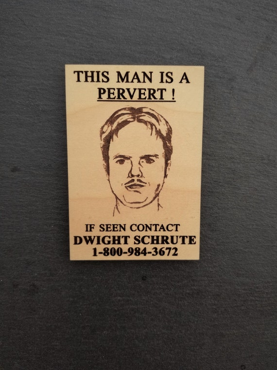 """The Office This man is a pervert poster Refrigerator Magnet 2/"""" X 3/"""" fridge"""