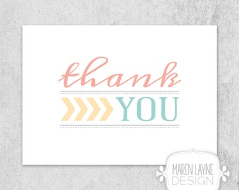DIGITAL FILE 5x7 Folded Thank You Card Chevron Pastels Stationary