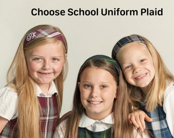 Uniform Plaid Hard Headband for School Uniforms, Back to School Uniform Headband Personalized with School or Monogram