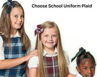School Uniform Hair Accessories Style 4 Plaid 76 4 pcs