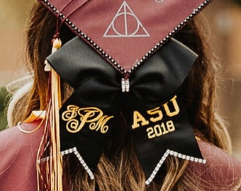 Personalized Graduation Cap Bow with Bling, 2021 Graduation Bow, Monogrammed Bow for Graduation Cap, Graduation Bow with School Letters