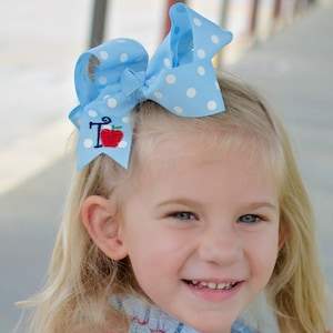 Back to School Navy blue Hairbow with Red Polkadot spikes and an apple Feltie