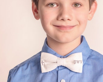 4f703b3de8d6 Seersucker Easter Bow Tie with Cross & Monogram, First Communion Bow Tie  with Cross, Bow Ties for Boys, Monogrammed Bow Tie For Boy