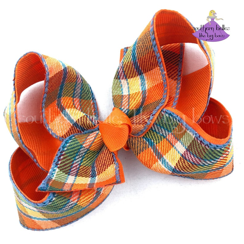 Big Boutique Bow for Fall with Plaid Check Check Fall Hair Bow Fall Plaid Hair Bow