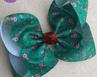 Fa La La Christmas Bow Made to Match Matilda Jane, Gift for Girl, Floral Christmas Bow for Girl, Christmas Bow with Floral Print