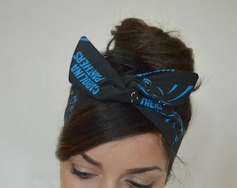 Carolina Panthers headband, headband, Dolly bow head bands, head band, hair bow
