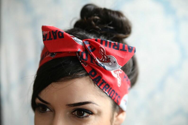 2987006fbdae7 Red Patriots headband New England Patriots bow New England