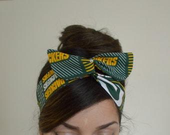 Green bay Packers, headband, Dolly bow head bands, head band, hair bow