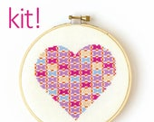 Modern Cross Stitch Kit, DIY Kit, Embroidery Kit, Patchwork Heart in Pink and Purple, Beginner Cross Stitch Pattern, Nursery Decor
