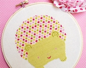 Modern Cross Stitch Pattern PDF,  Hedgehog in Pink and Green, Nursery Decor or Baby Gift, Instant Download, Beginner Cross Stitch Project