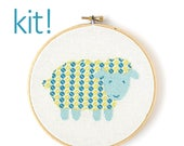 Modern Cross Stitch Kit, DIY Kit, Embroidery Kit, Patterned Sheep in Blue and Green, Beginner Cross Stitch Pattern, Nursery Decor