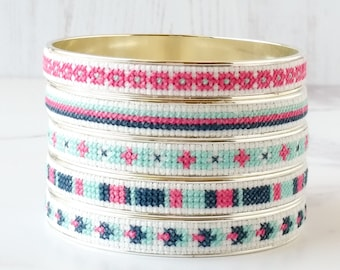DIY Cross Stitch Jewelry Kit, Embroidered Bracelet, Modern Cross Stitch Pattern in Navy, Pink, and Aqua Blue