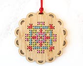 DIY Holiday Ornament Kit - Bamboo Cross Stitch Ornament - Bright Snowflake Pattern