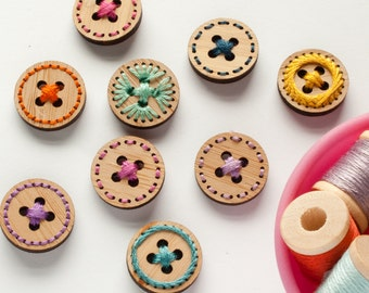Stitchable Wood Buttons - Set of 6