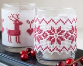 DIY Holiday Decor, Festive Votive Candle Wrap, Modern Cross Stitch Kit, Christmas Candle, DIY Holiday, Embroidery Kit