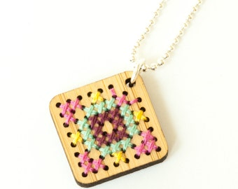 Modern Cross Stitch Jewelry Kit - Bamboo Diamond Pendant with Multicolor Patterns
