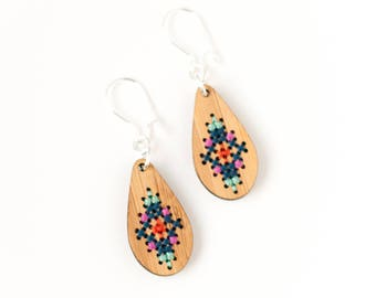 CLEARANCE: Modern Cross Stitch Jewelry Kit - Bamboo Teardrop Earrings with Multicolor Patterns