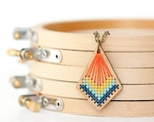 DIY Cross Stitch Necklace - Wood Bamboo Pendant with Modern Stitched Design