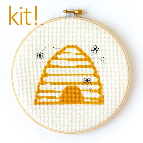 Modern Cross Stitch Kit, DIY Kit, Embroidery Kit, Beehive, Beginner Cross  Stitch Pattern, Nursery Decor
