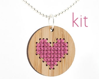 Cross Stitch Kit - Bamboo Pendant Necklace with Pink Heart