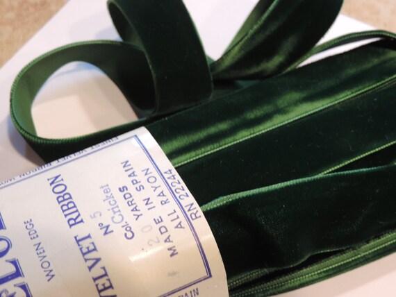 "1 yard vintage black white edge velvet 1 1//2/"" rayon ribbon trim Millinery dress"