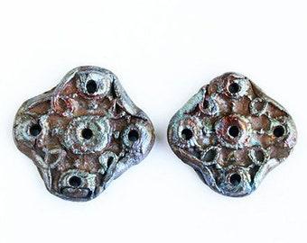 Artisan Raku Pendants, Ceramic Hand Formed Round Tribal Rustic Quatrefroil Pendant Medallion Connectors (2)
