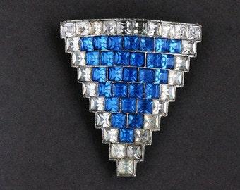 Triangle Dress Clip, Antique Vintage Art Deco Rhinestone Paste Square Crystal Capri Blue Accessory